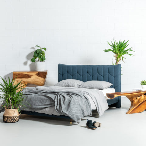 MAPLE - Dark Blue Fabric Bed - Wazo Furniture