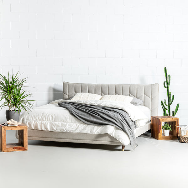 MAPLE - Light Grey Fabric Bed - Wazo Furniture