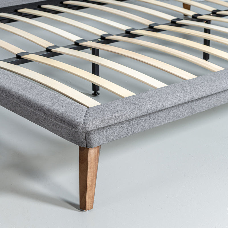 MAY - Dark Grey Fabric Bed - Wazo Furniture