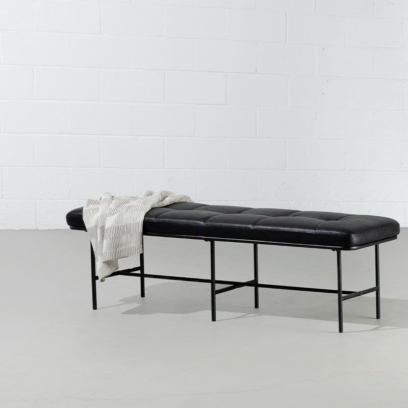 MILAN - Vintage Black Leather Bench w/ Black Metal Legs - Wazo Furniture