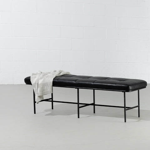 MILAN - Vintage Black Leather Bench w/ Black Metal Legs