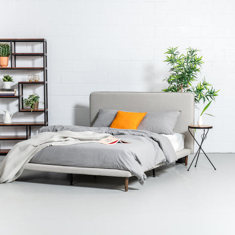 MOLLY - Light Grey Fabric Bed - Wazo Furniture
