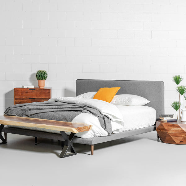 MOLLY - Dark Grey Fabric Bed - Wazo Furniture