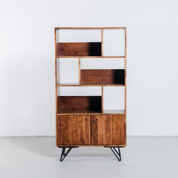 NAPLES-Mid Century Rustic Modern Bookshelf - Wazo Furniture