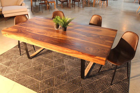 Natural Rosewood Table with Black U-Shaped Legs