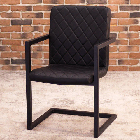NORA - Black Leather Dining Chair-Dining Chairs-Wazo Furniture