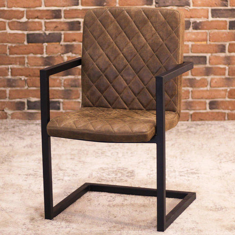NORA - Brown Leather Dining Chair - Wazo Furniture
