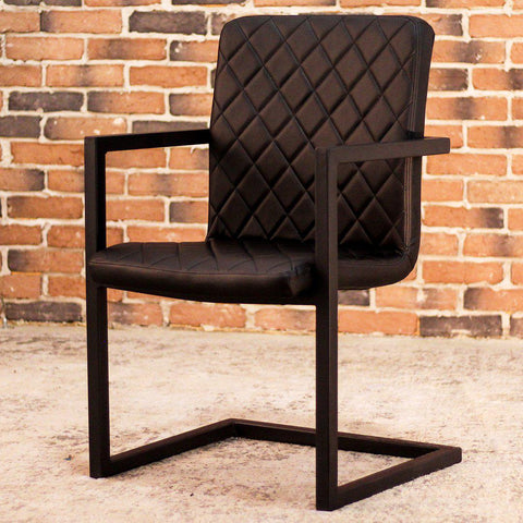 NORA - Black Leather Dining Chair