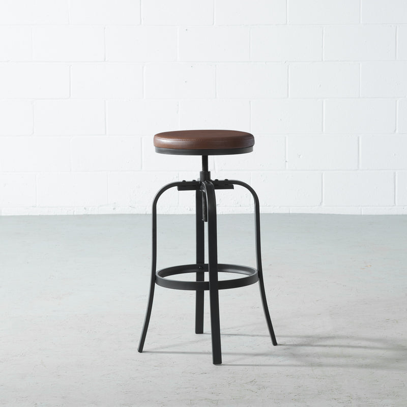 RIDLEY - Brown Leather Bar Stool