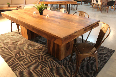 ELLIOT Rosewood Natural Wood Table with Wooden Square Legs