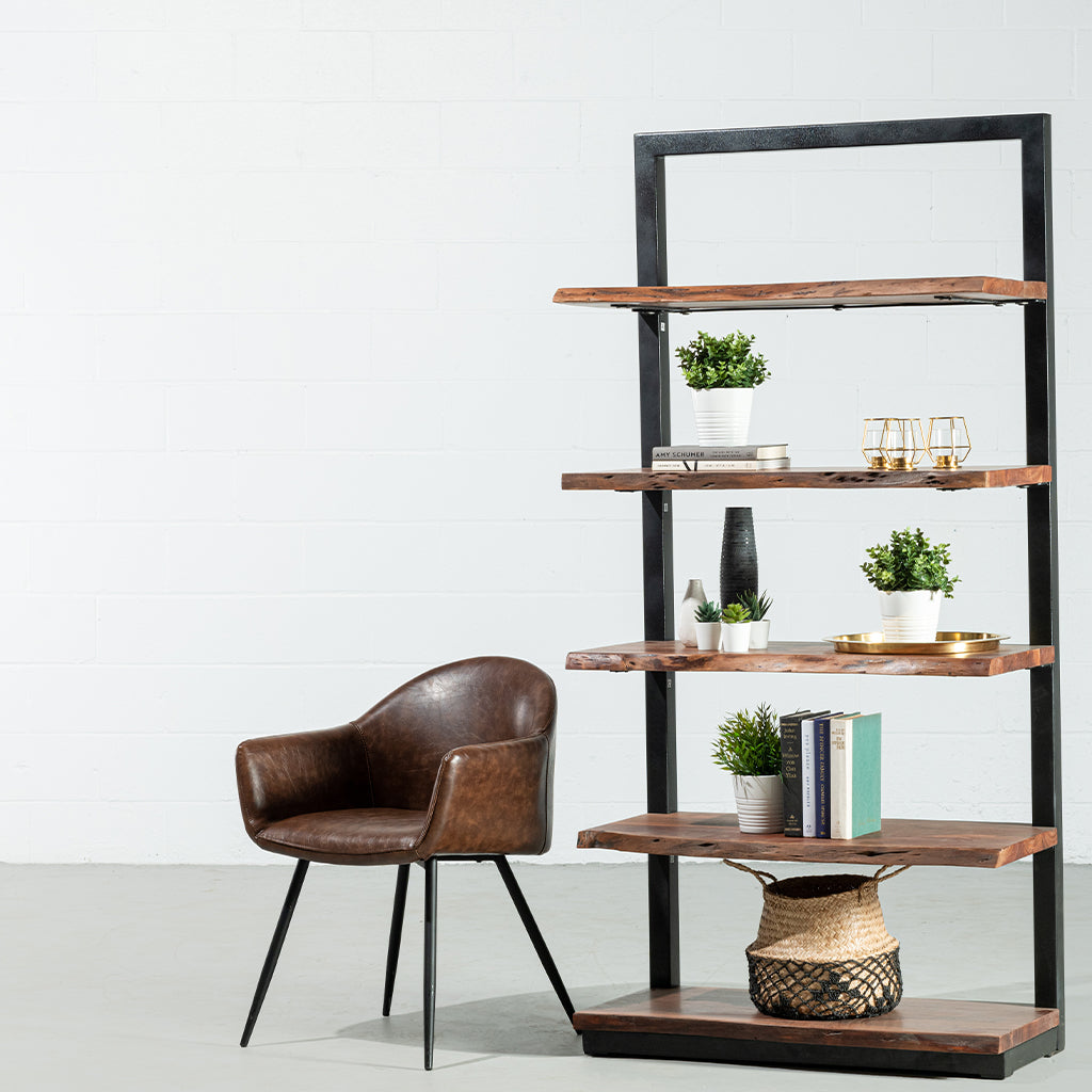 Roswell Industrial Live Edge Acacia Wood Bookcase Wazo Furniture
