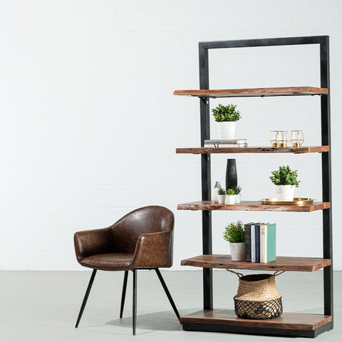 ROSWELL- Industrial Live Edge Acacia Wood Bookcase