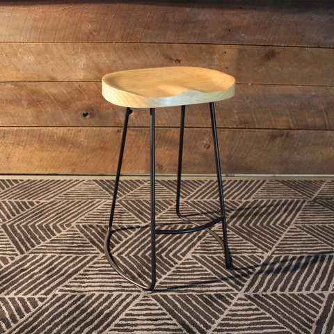 Rustic Tractor Oak Wooden Bar Stool - Wazo Furniture