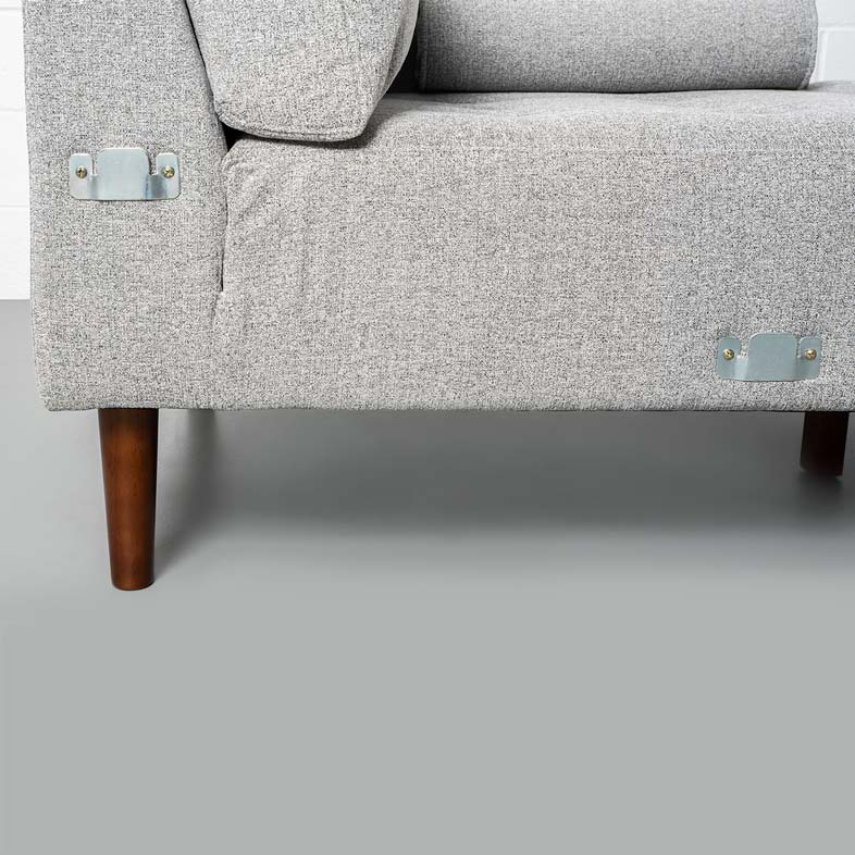 FONDA - Grey Fabric Sectional Sofa - Right
