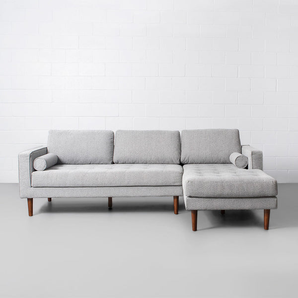 FONDA - Grey Fabric Sectional Sofa - Left