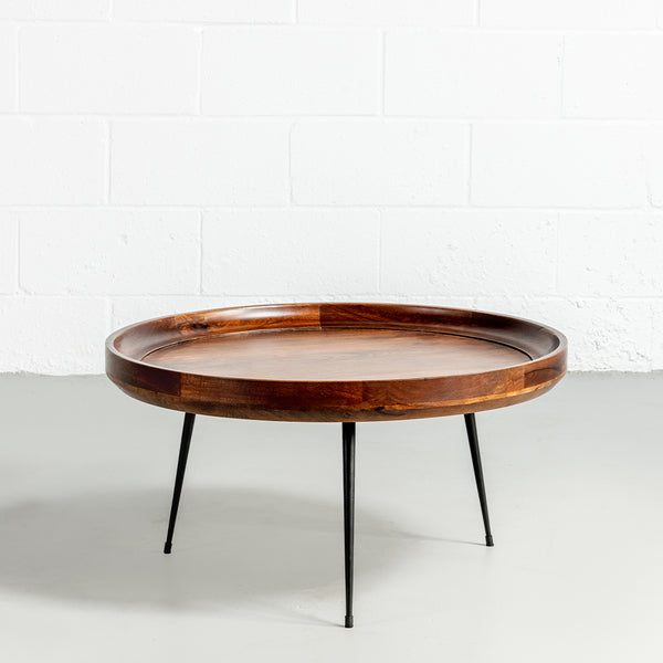 SELMA - Walnut Mango Wood Mid Century Modern Round Coffee Table With Metal Legs - Wazo Furniture