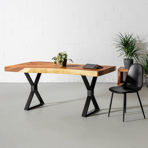 Live Edge Suar Table with Black X Shaped Legs/Natural Finish - Wazo Furniture