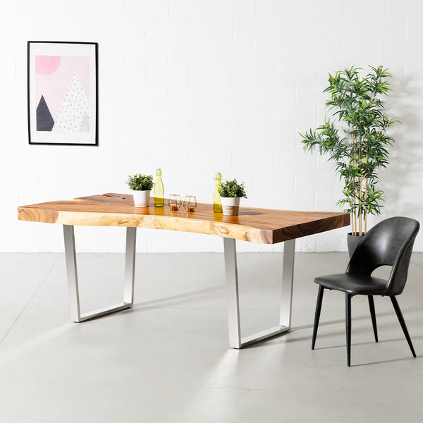 Live Edge Suar Table with Chrome U Shaped Legs/Natural Finish - Wazo Furniture