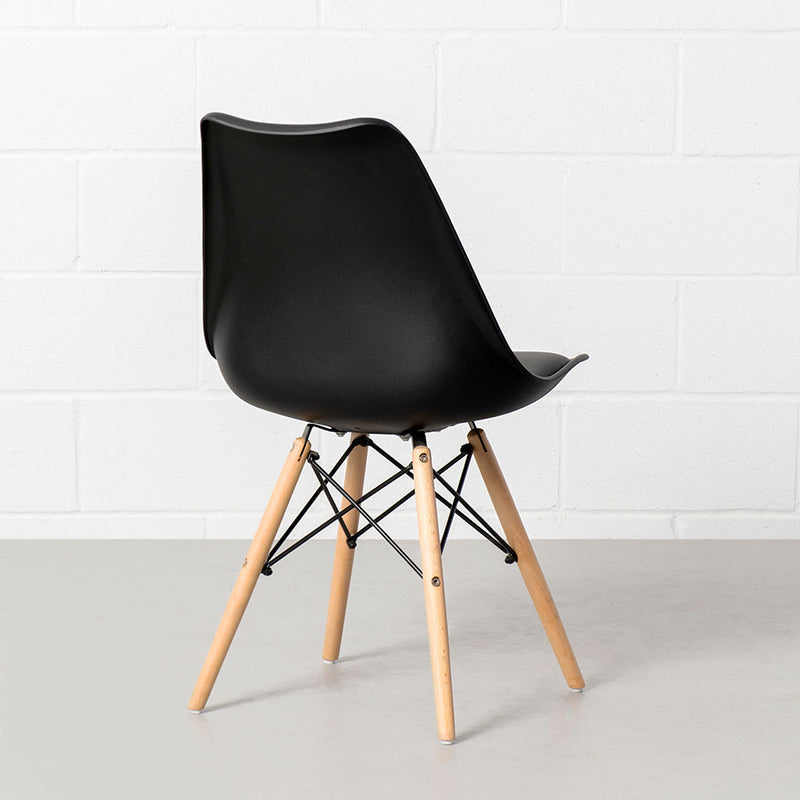 EIFFEL - Eames Style Black Padded Side Chair