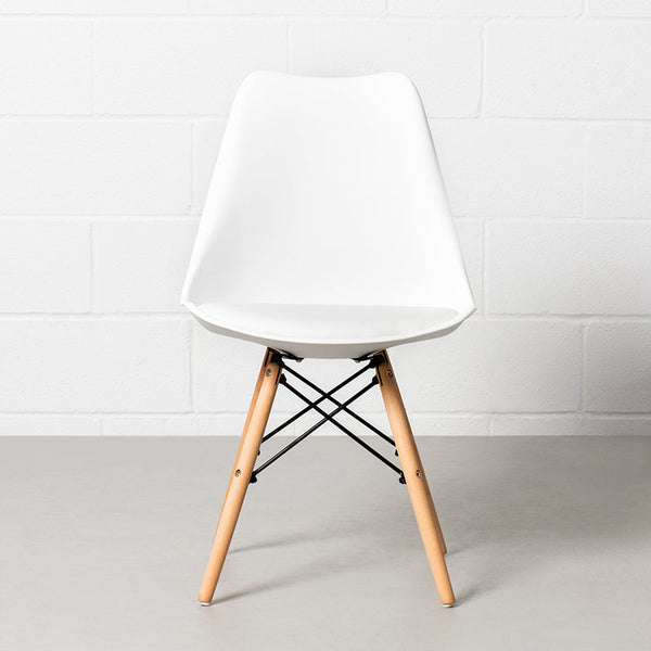 EIFFEL - Eames-Style White Padded Side Chair