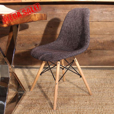 Eames Style Peppered Scandinavian Grey Fabric Side Chair