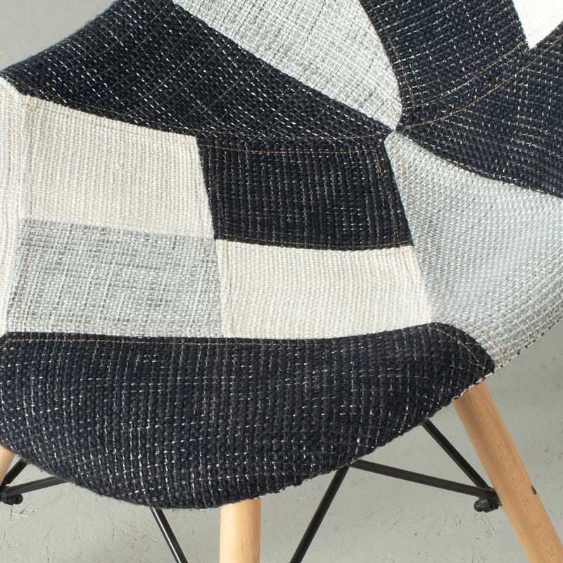 Eames Style Greyscale Checkered Patchwork Side Chair