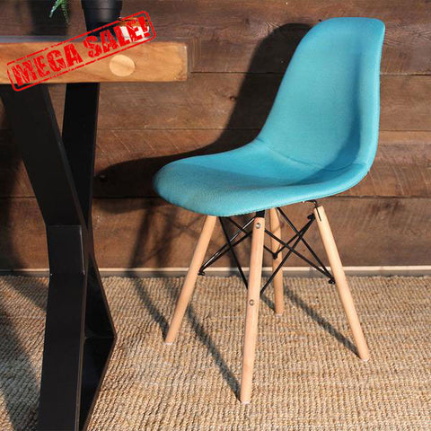 Eames Style Turquoise Fabric Side Chair