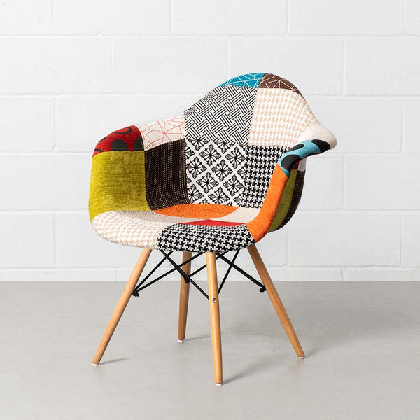 Eames Style Patchwork Fabric Armchair