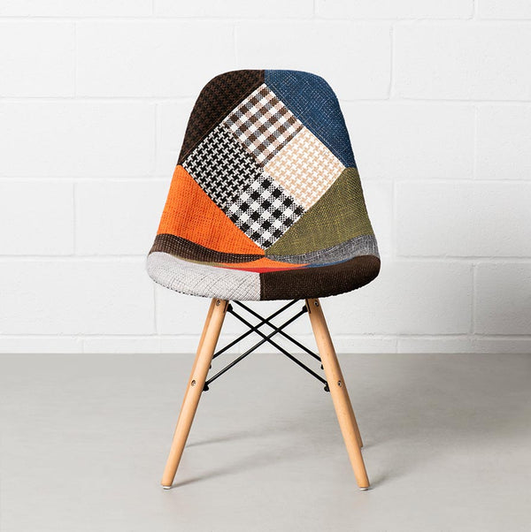 Eames Style Patchwork Fabric Side Chair