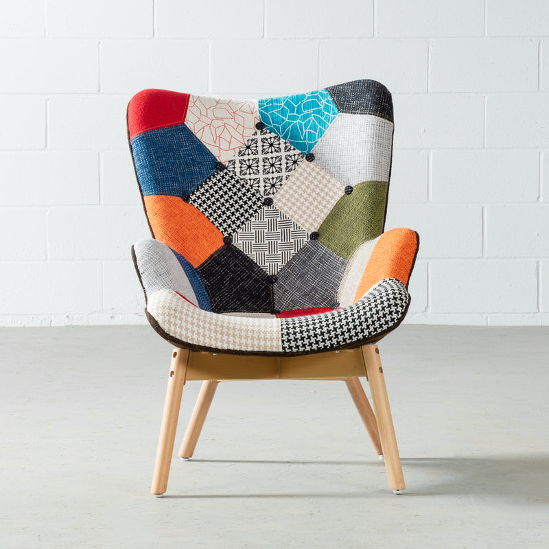Featherston Style Contour Patchwork Lounge Chair & Ottoman