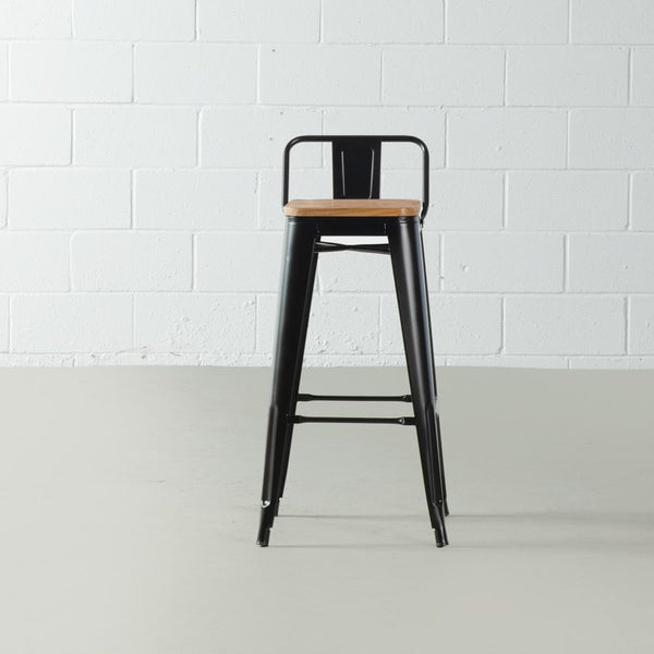 TOLIX - Black Bar Stool with Backrest and Wood Seat (75 cm)