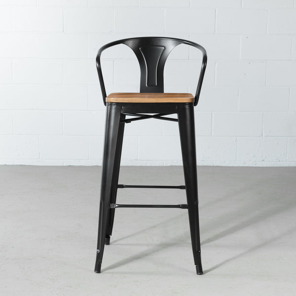 TOLIX - Bar Stool with Armrest and Wooden Seat  (75 cm)