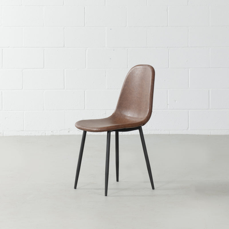 MILAN - Eames Style Brown Vintage Leather Dining Chair
