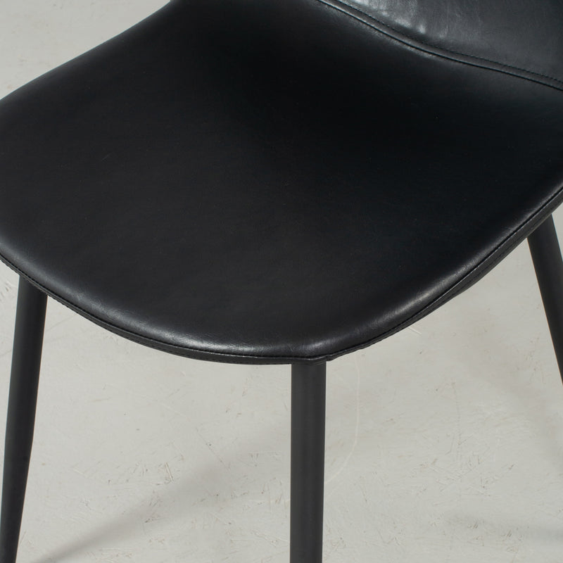 MILAN - Eames Style Black Vintage Leather Dining Chair