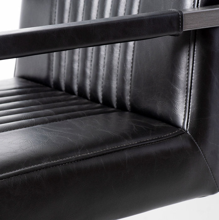 CALEB - Vintage Black Leather Arm Chair