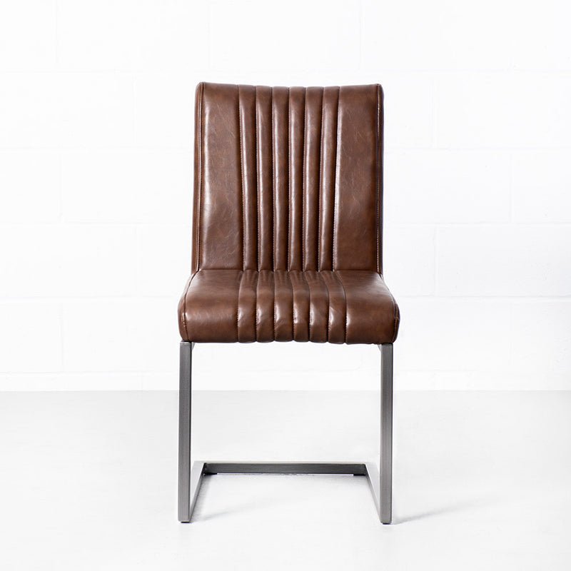 CAL - Vintage Brown Leather Industrial Chair