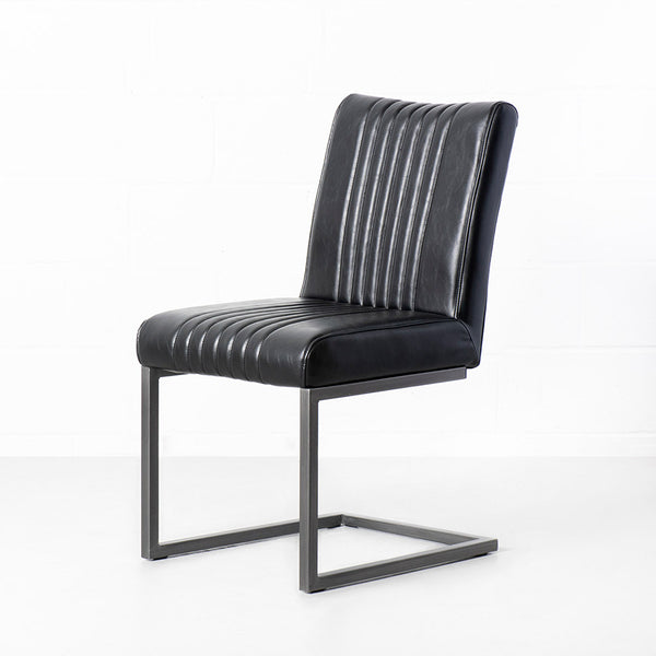 CAL - Black Leather Industrial Chair