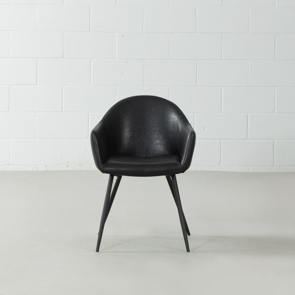MILAN - Eames Style Black Vintage Leather Arm Chair