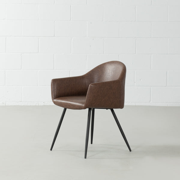MILAN - Eames Style Brown Vintage Leather Arm Chair