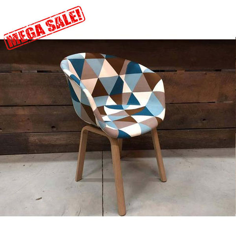 Scandinavian Bucket Chair with Triangle Patchwork Fabric
