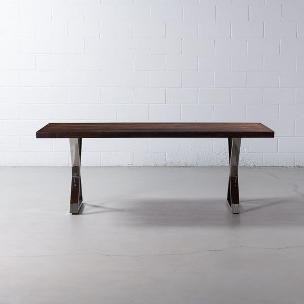 Straight Cut Acacia Dining Table with Chrome X Legs/Honey Walnut