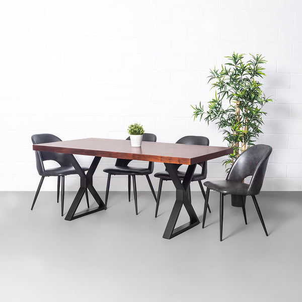 Straight Cut Acacia Dining Table With Black X Legs/Honey Walnut