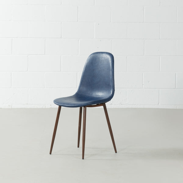 MILAN - Eames Style Blue Leather Dining Chair