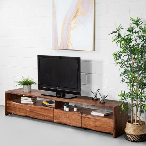 NASHVILLE - Modern Rustic Live Edge Acacia Wooden TV Unit (230cm)