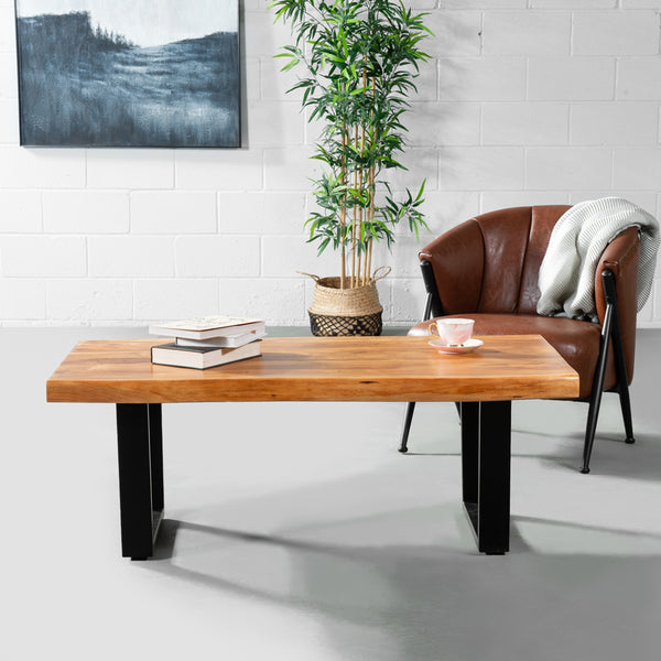 Acacia Natural Live Edge Wood Coffee Table with Black U Shaped Legs