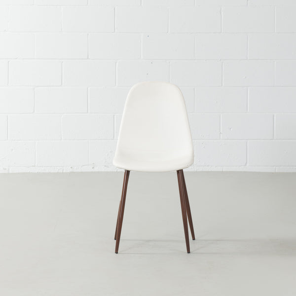 MILAN-Eames Style White Leather Dining Chair