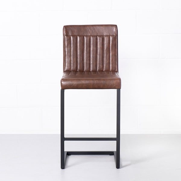 CAL - Brown Leather Bar Stool (65cm)