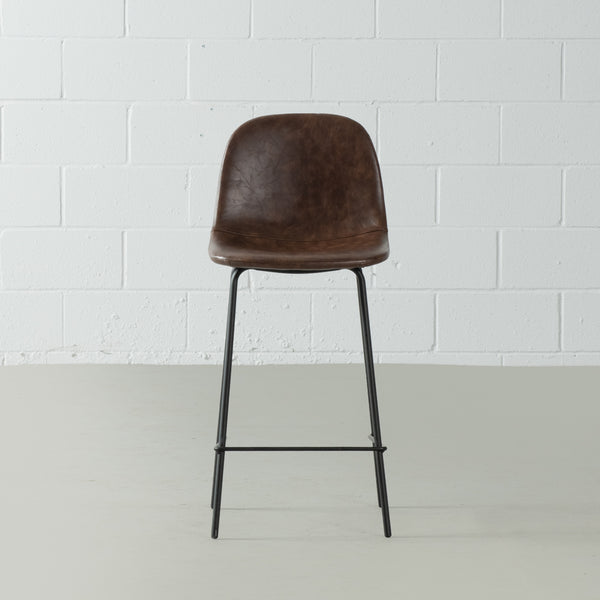 MILAN - Brown Leather Bar Stool