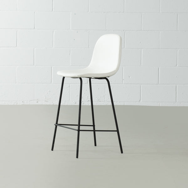 MILAN - White Leather Bar Stool (65 cm + 75 cm)
