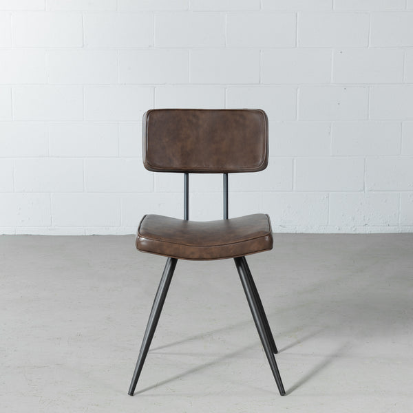 BLAKE - Brown Leather Dining Chair